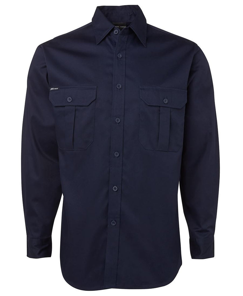 Navy Branded L/S 190G Work Shirt