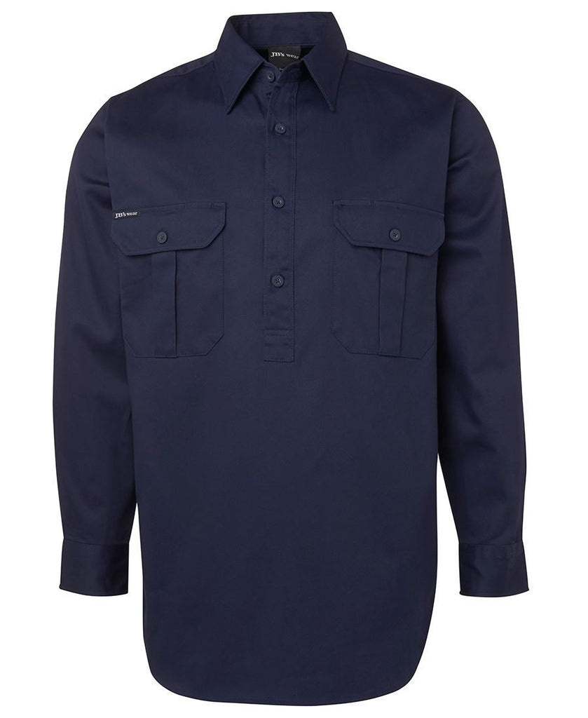 Buy Navy L/S 190G Close Front Work Shirt
