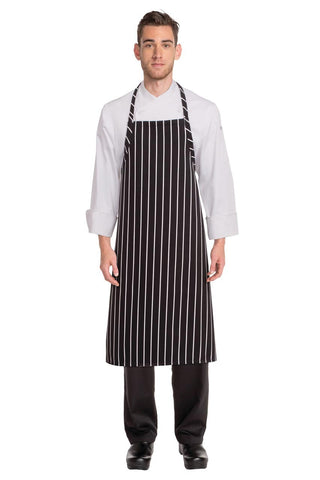 Black Chalkstripe Adjustable Chefs Apron A100-BCS