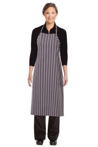Grey Chalkstripe Adjustable Chefs Apron A100-GWS