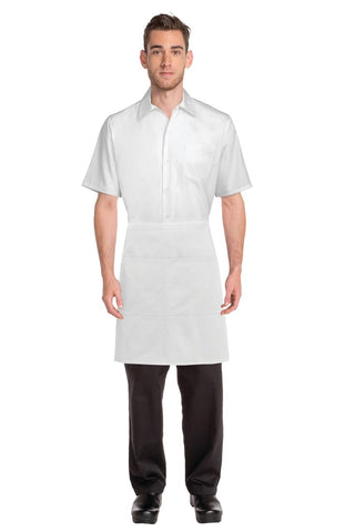White Wide Two Pocket Half Apron AW004-WHT