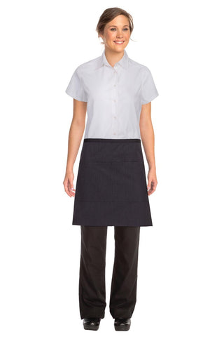 Black Fine Striped Wide Half Apron With Black Ties AW013-PNS
