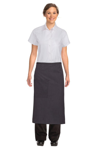 Black Fine Striped 3/4 Apron With Black Ties AW014-PNS