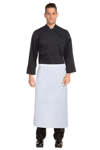 White 3/4 Bar Apron B3-WHT