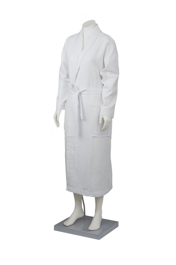 Waffle bath robe with collar BR126