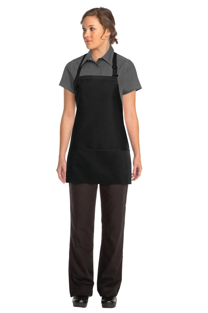 Three Pocket Black Bib Apron F10-BLK