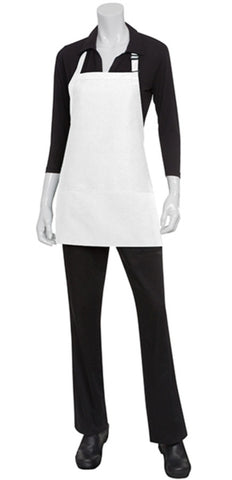 Three Pocket White Bib Apron F10-WHT