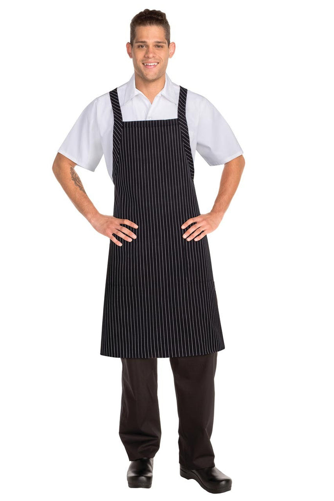 Black With White Pinstripe Crossover Apron F35-BWP