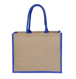 Jute Laminated Landscape - Royal Blue Gusset JT-LAND-BL Plain Bag