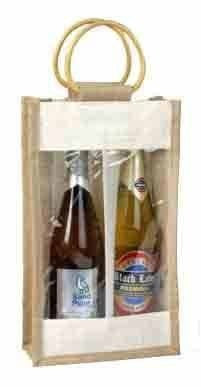 Jute Wine Bottle Bag For 2 Bottles Standard J72