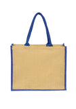 Jute Laminated Landscape - Navy Gusset JT-LAND-NV Plain Bag