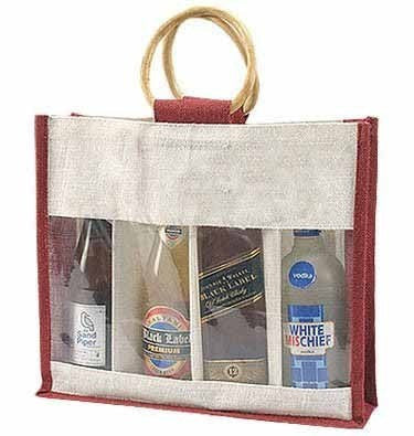 Jute Wine Bottle Bag For 4 Bottles Standard JW103