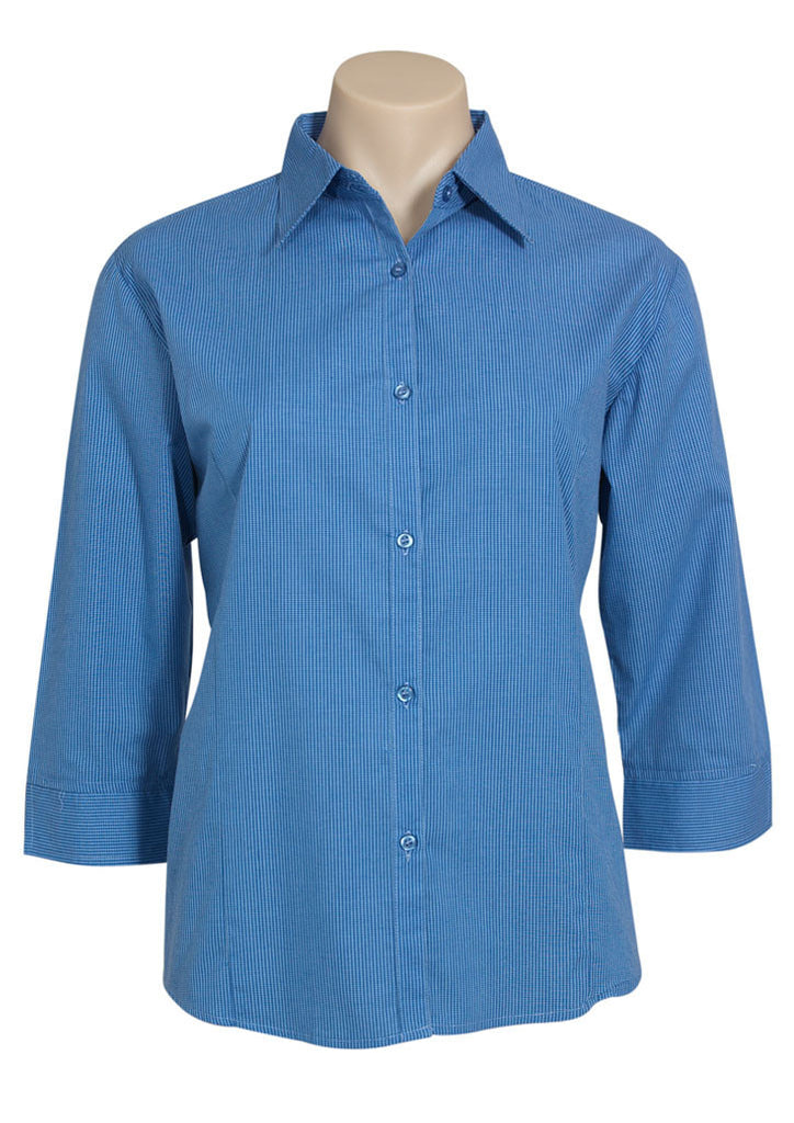 Mid Blue Ladies Micro Check 3/4 Sleeve Shirt For Sale