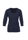 Navy Ladies 80/20 Wool-Rich Pullover For Sale