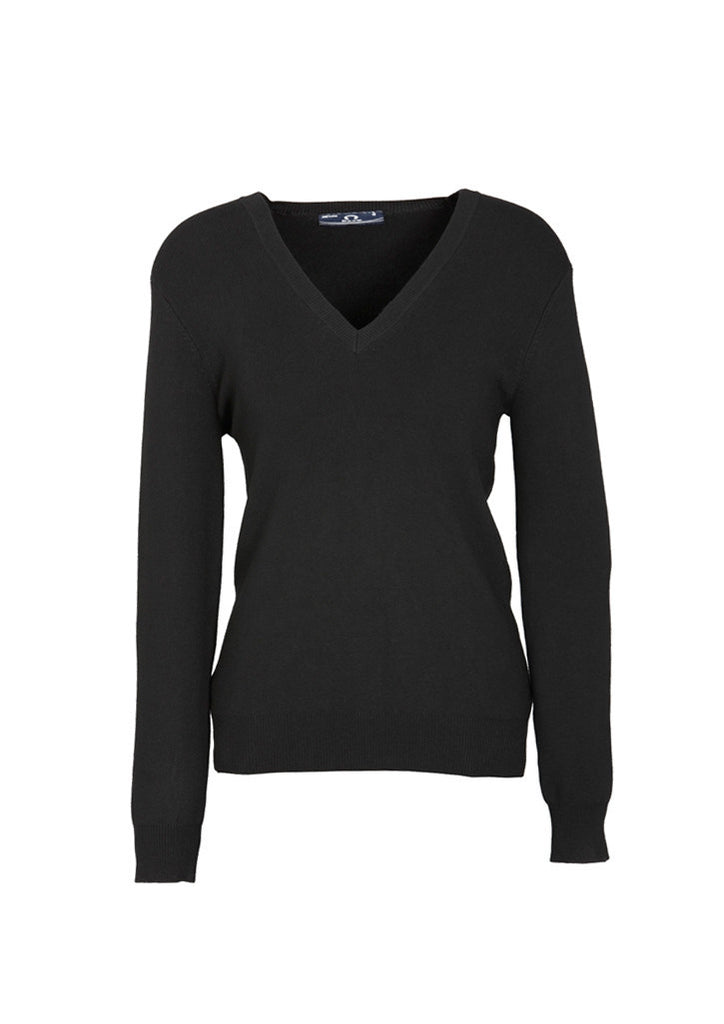 Black Branded Ladies V-Neck Pullover