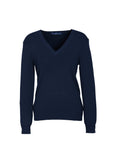 Navy Branded Ladies V-Neck Pullover