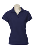 Navy Printed Ladies Neon Polo