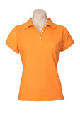 Orange Printed Ladies Neon Polo
