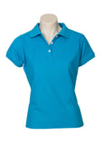 Cyan Blue Printed Ladies Neon Polo