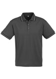 Steel Grey/Black/White Personalised Mens Cambridge Polo