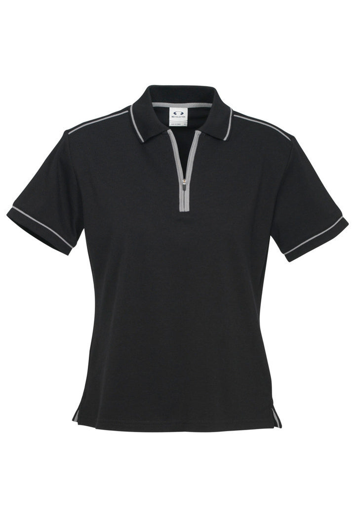 Black/Silver Grey Ladies Heritage Polo With Logo