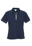 Navy/Silver Grey Ladies Heritage Polo With Logo