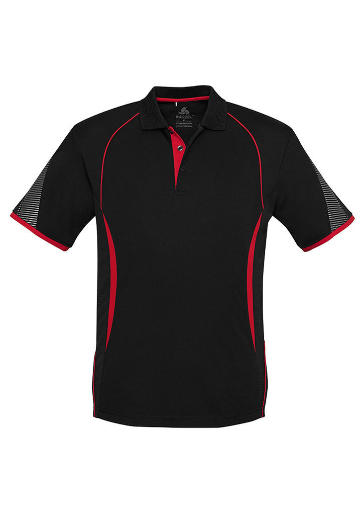 Black/Red Branded Mens Razor Polo