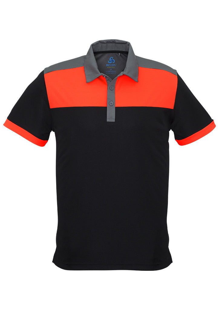 Black/Fluoro Orange/Grey Promo Mens Charger Polo
