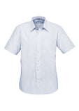 Blue Mens Signature Short Sleeve Shirt With Logo