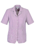 White/Grape Ladies Stripe Oasis Overblouse With Logo