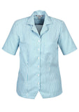 White/Teal Ladies Stripe Oasis Overblouse With Logo