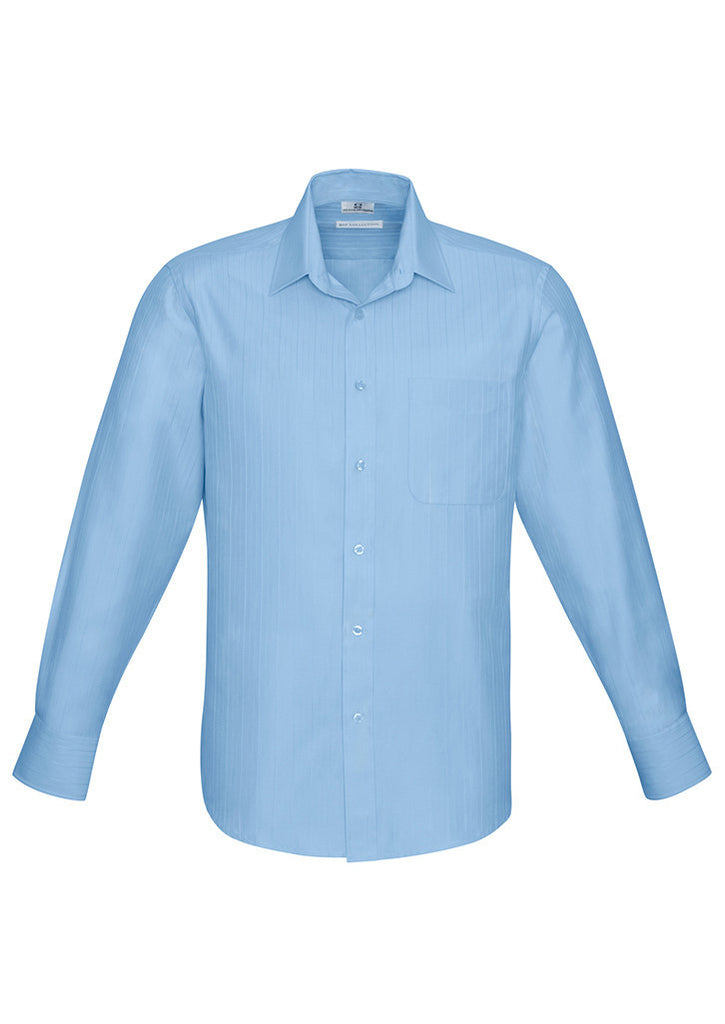 ˜Blue Mens Preston Long Sleeve Shirt With Logo