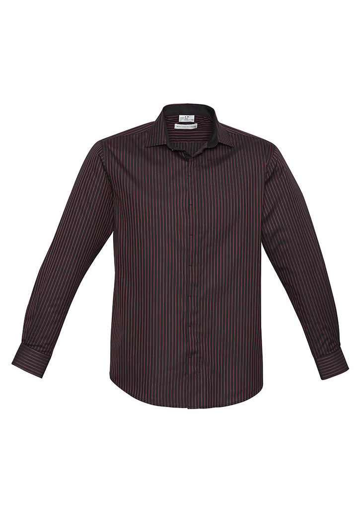 Port Wine Custom Mens Reno Stripe Long Sleeve Shirt