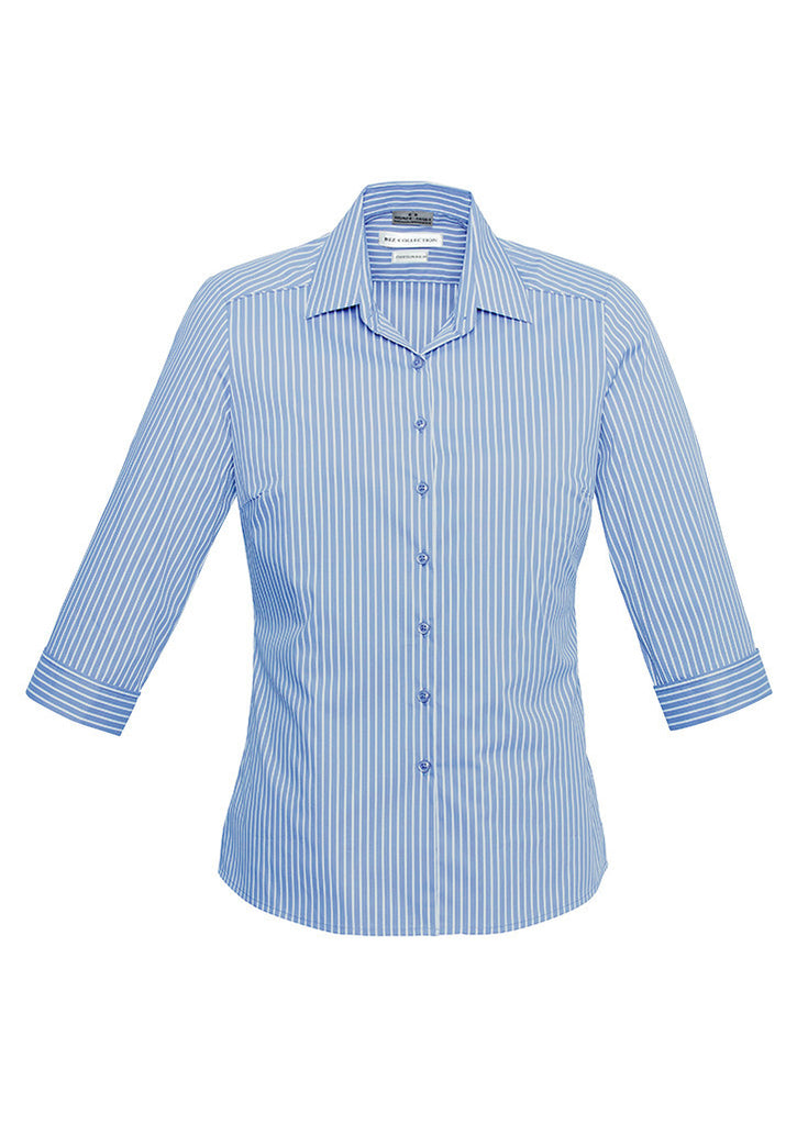 Ice Blue/White Personalised Ladies Zurich 3/4 Sleeve Shirt