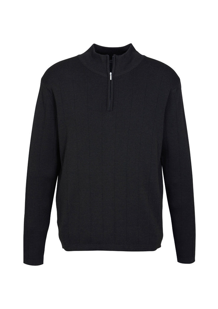 Black Custom Mens 80/20 Wool-Rich Pullover