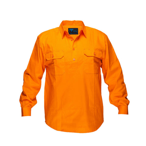 Solid Orange regular Cotton Shirt - WW988C