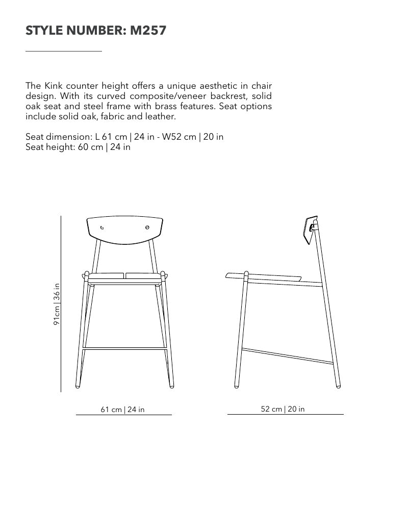 The Kink Bar Height Stool Offers A Unique Aesthetic In Chair Design. With  Its Curved Composite/veneer Backrest, Solid Oak Seat And Steel Frame With  Brass ...