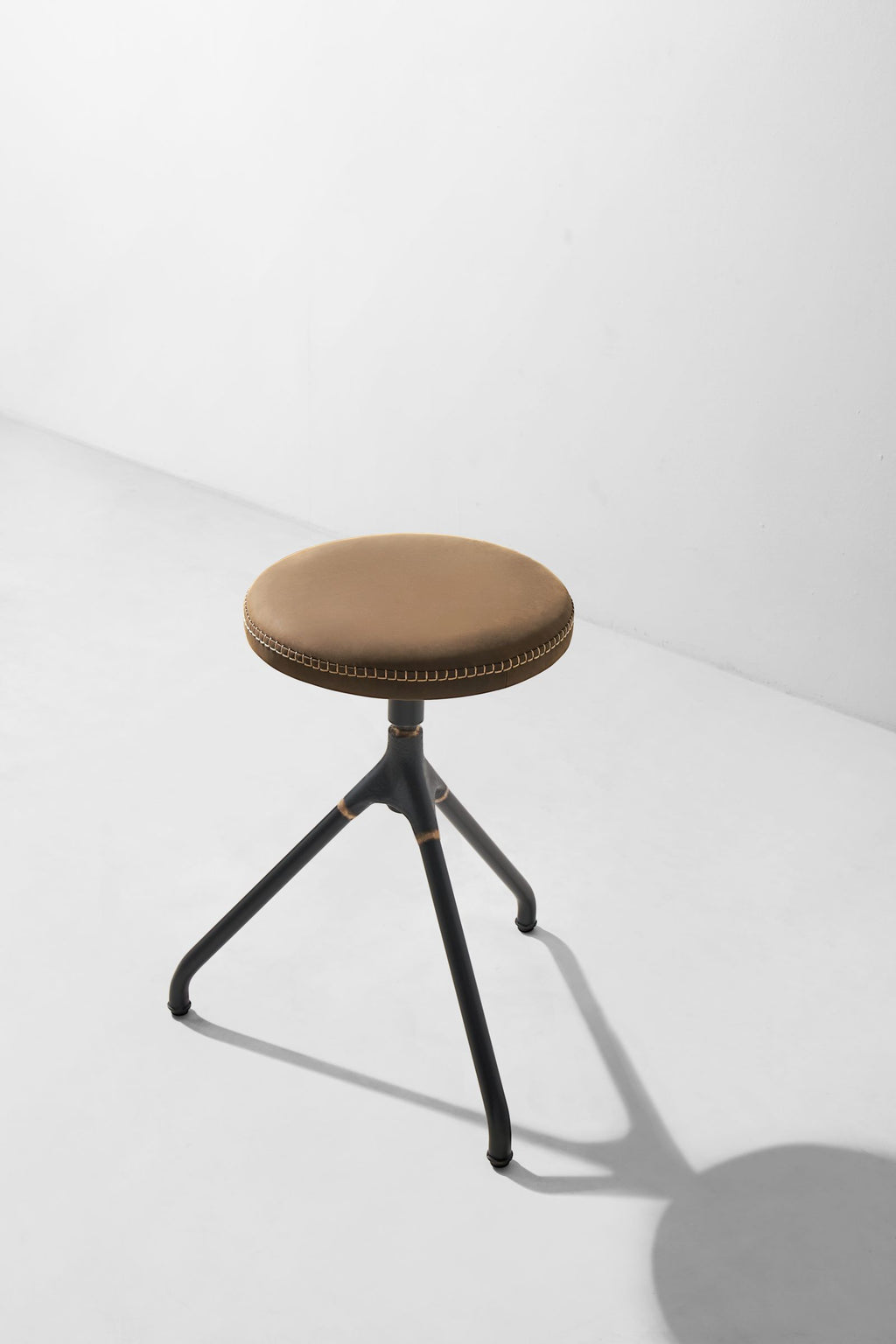 Akron Low Stool With Leather Seat