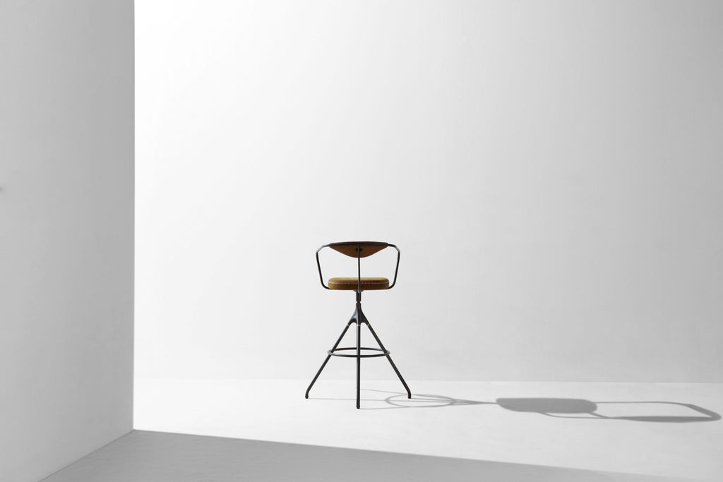 Akron Bar Stool With Backrest & Leather Seat