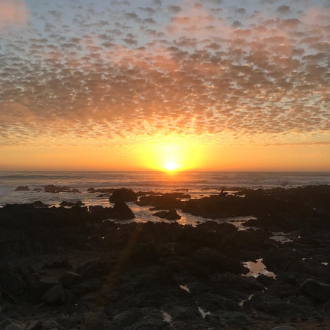 sunset at moonstone beach in cambria