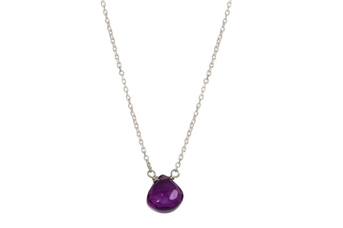 amethyst little rock silver necklace