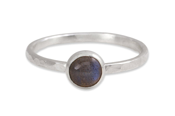 Labradorite 6mm sterling silver stacking ring - Amanda K Lockrow