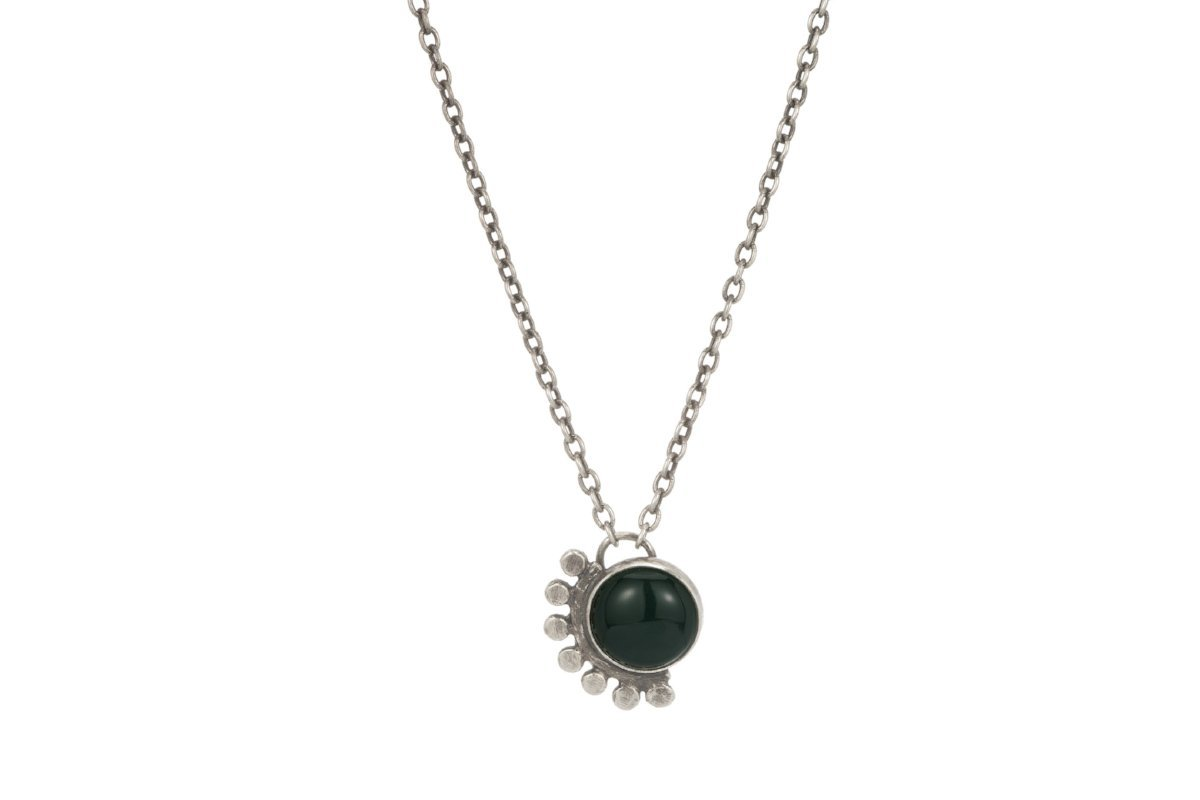 Green onyx sunrise sterling silver cabochon necklace