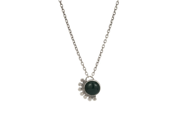 Green onyx sunrise sterling silver cabochon necklace - Amanda K Lockrow