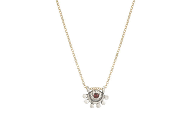 Garnet sterling silver and gold filled oriana necklace