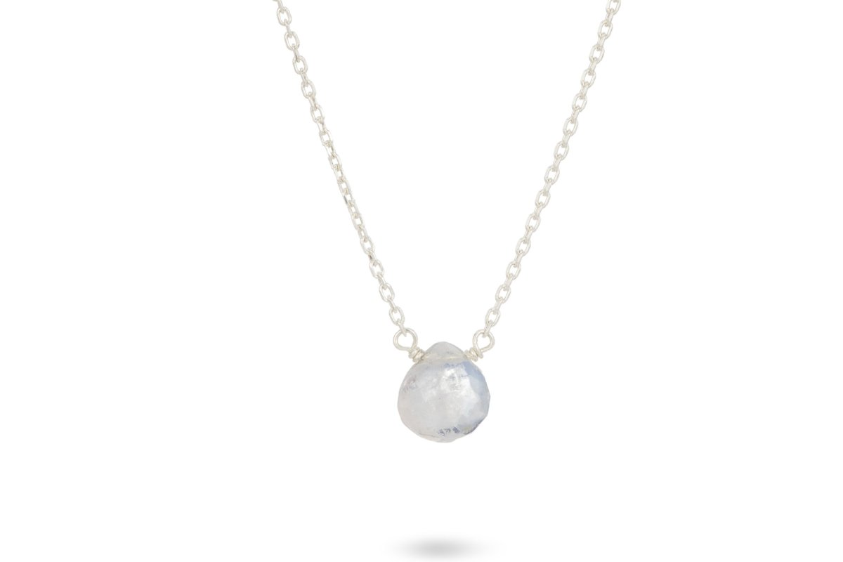 Dainty rainbow moonstone sterling silver necklace // bridesmaid gift