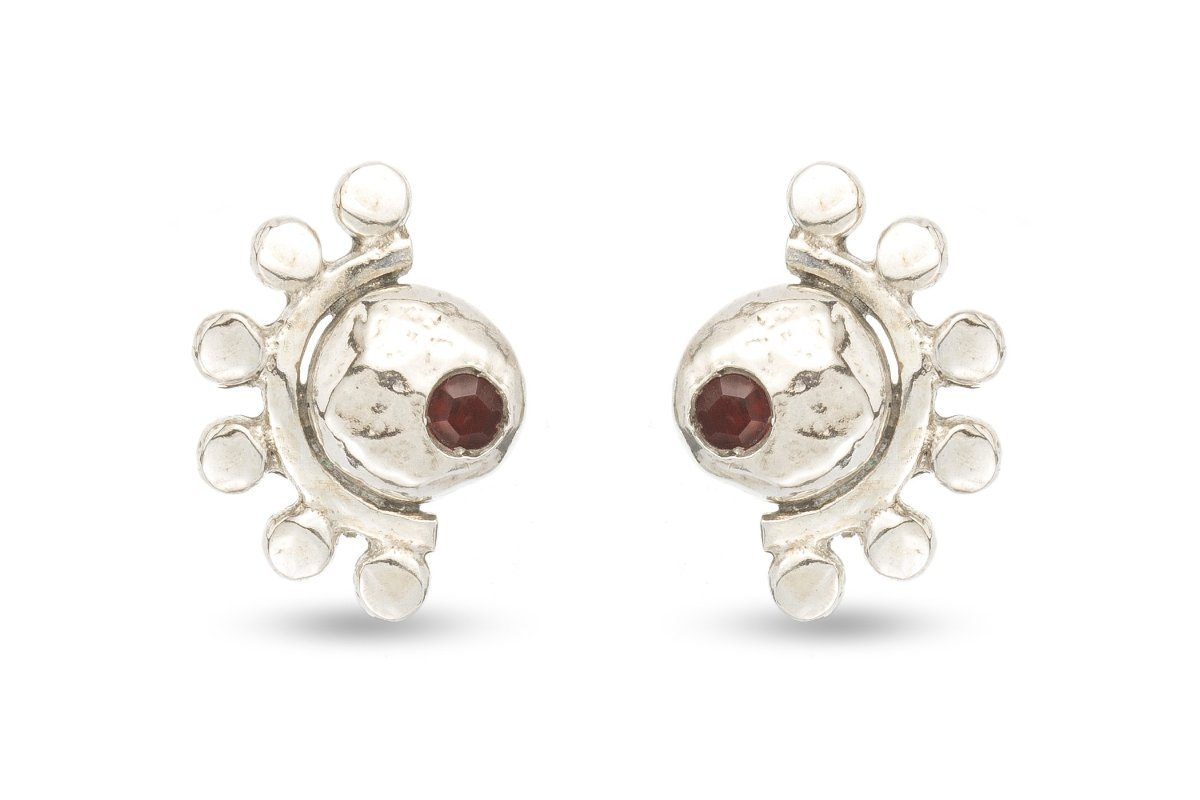 Oriana sterling silver and garnet stud earrings - Amanda K Lockrow