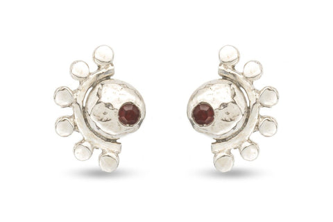 Oriana sterling silver and garnet stud earrings