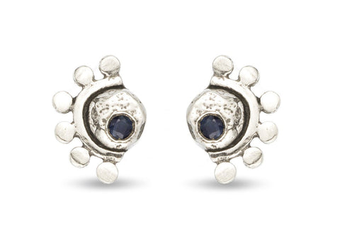 Oriana sterling silver and blue sapphire stud earrings