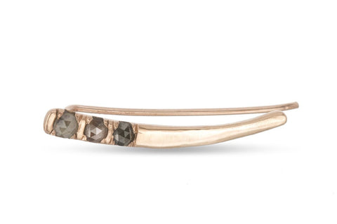 14K rose gold Siria ear climber with rosecut diamonds